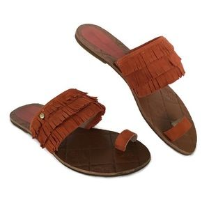 Tommy Bahama Toe Sandals Womens 8 B Fringe Leather